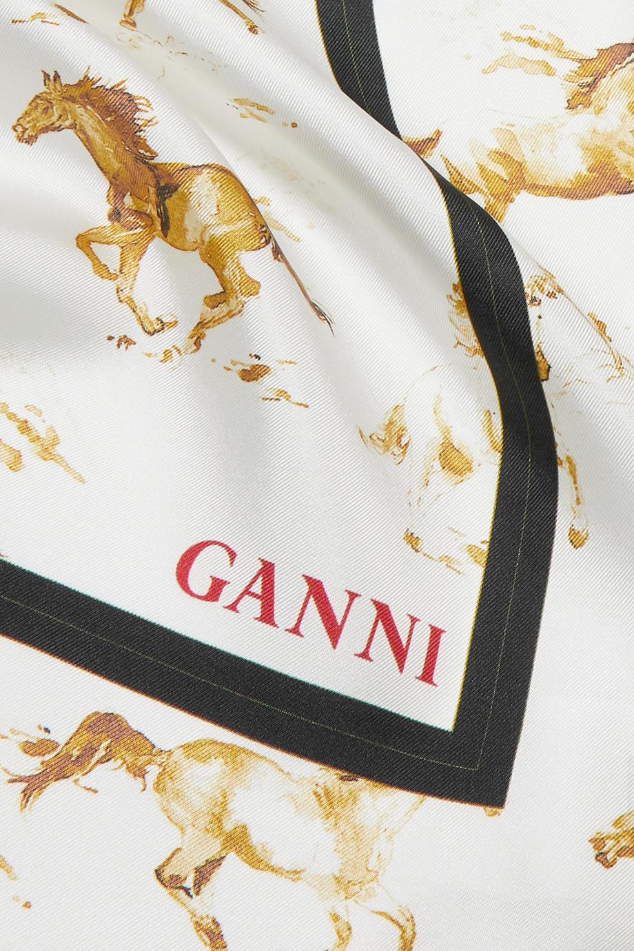 9f868f39 GANNI Nellieburg printed silk-satin scarf