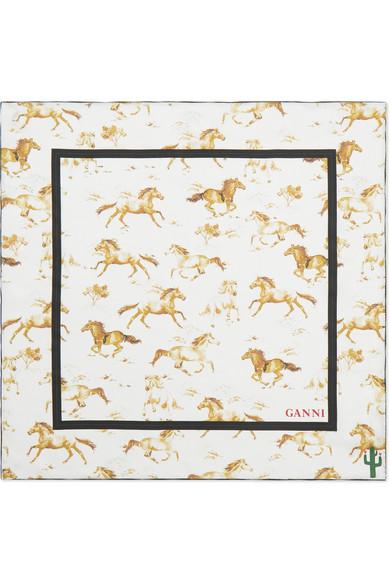16e5bb90 GANNI | Printed silk-satin scarf | NET-A-PORTER.COM