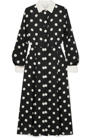 Polka-dot silk-georgette dress
