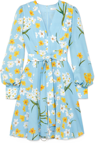 ANDREW GN Belted Floral-Print Silk Mini Dress in Blue