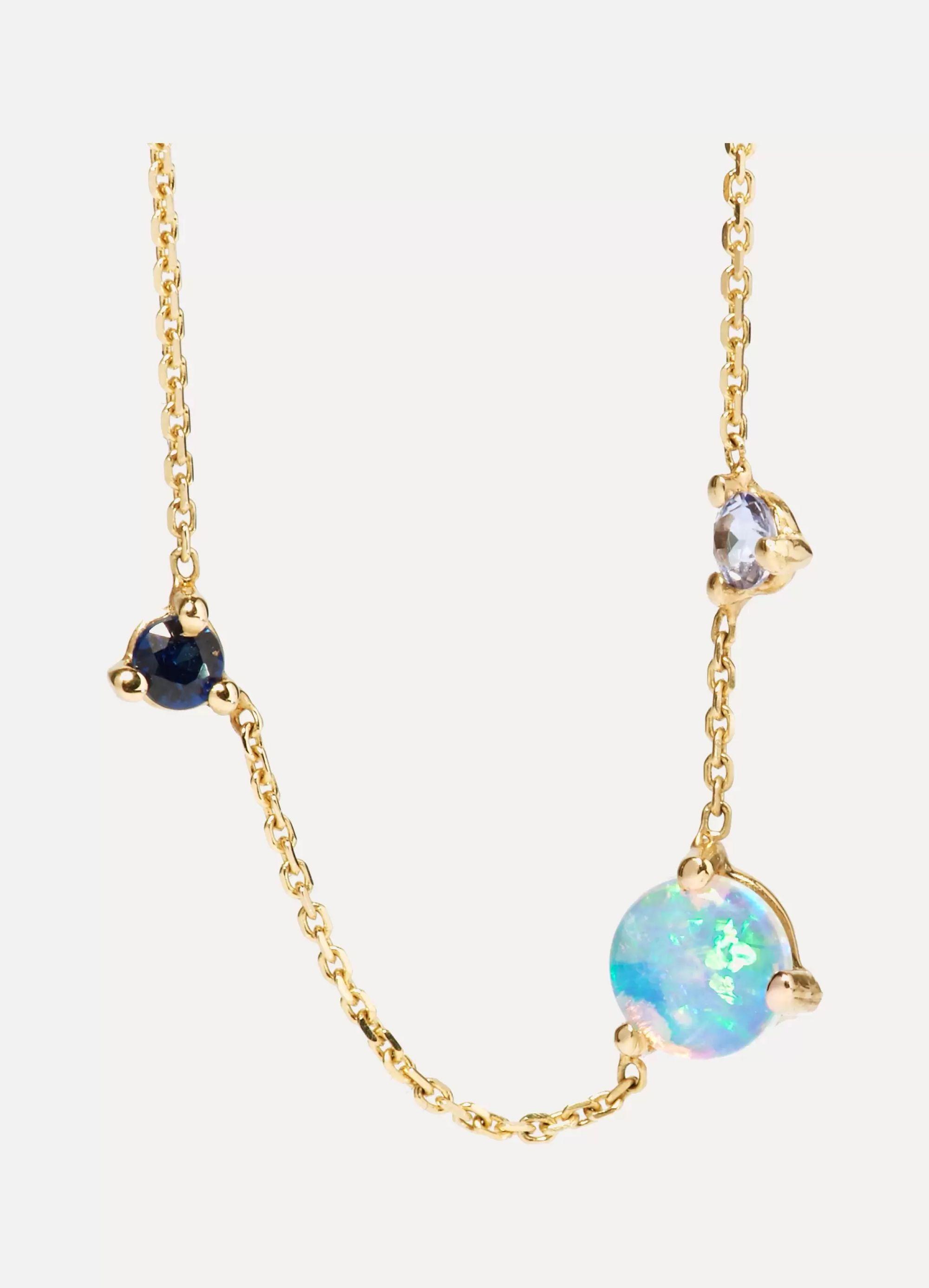 Wwake Three Step gold multi-stone necklace