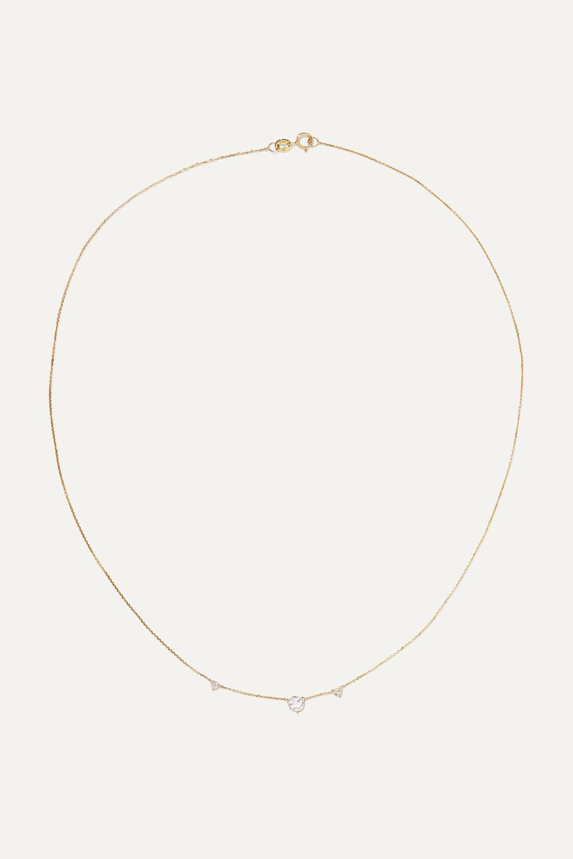 Wwake Three Step 14-karat gold diamond necklace