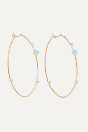 Wwake 14-karat gold, opal and diamond hoop earrings