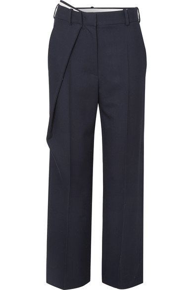 CÉDRIC CHARLIER   Cédric Charlier - Wrap-effect Wool-twill Straight-leg Pants - Navy   Goxip