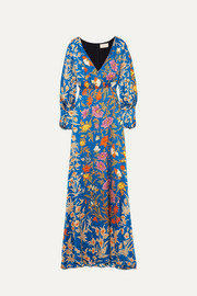 Peter Pilotto Floral-print hammered stretch-silk dress