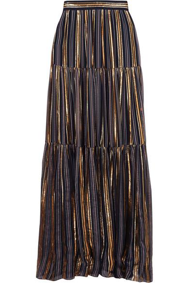 Metallic-Striped High-Rise Silk-Blend Maxi Skirt in Gold