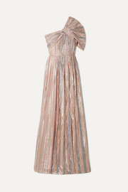 Peter Pilotto One-shoulder striped silk-blend Lurex gown