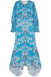 Peter Pilotto Floral-print stretch hammered-silk midi dress