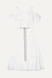 Peter Pilotto Cold-shoulder pintucked cotton-poplin midi dress