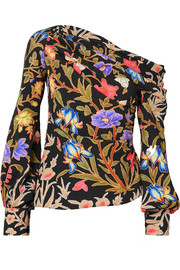 Asymmetric floral-print stretch-silk cloqué blouse
