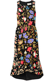 Kia fluted floral-print stretch-cady midi dress