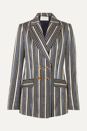 Double-breasted metallic striped jacquard blazer