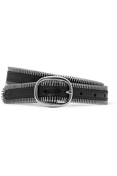 ALEXANDER WANG | Alexander Wang - Zipper-trim Leather Belt - Black | Goxip