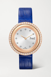 Possession 34mm 18-karat rose gold, alligator and diamond watch