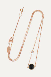 Possession 18-karat rose gold, onyx and diamond necklace