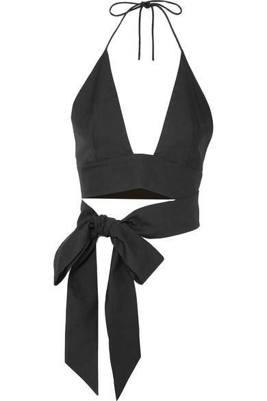 Plato Cropped Cotton-Poplin Halterneck Top in Black