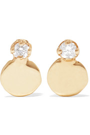 Small Disc 14-karat gold diamond earrings