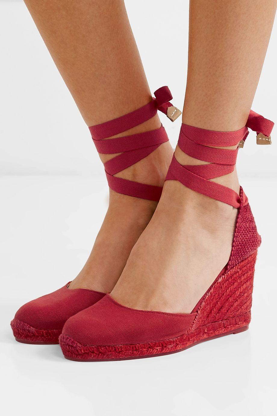Castañer Carina 80 帆布坡跟麻底鞋