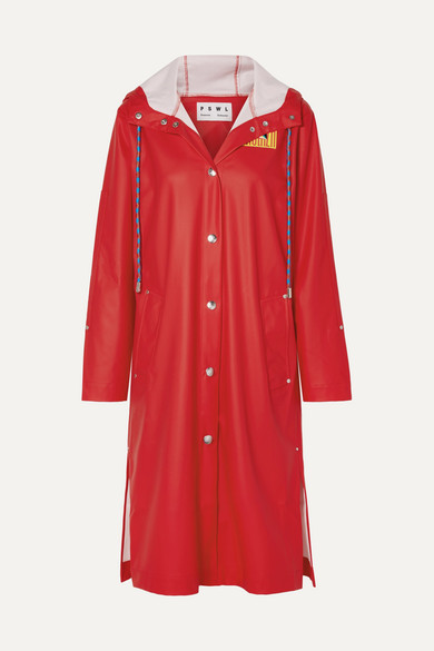 Pswl Hooded Printed Rubber Raincoat in Red