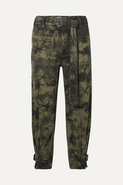 PSWL cropped tie-dyed stretch-cotton twill tapered pants