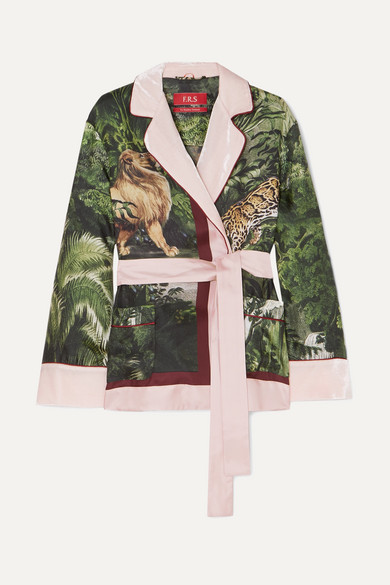 F.R.S FOR RESTLESS SLEEPERS Giocasta Velvet-Trimmed Printed Silk-Satin Jacket in Pink