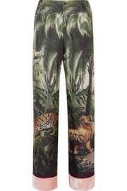 Etere velvet-trimmed printed silk-twill straight-leg pants