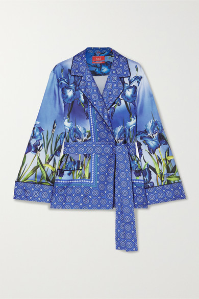 F.R.S FOR RESTLESS SLEEPERS Giocasta Printed Silk-Twill Wrap Top in Blue