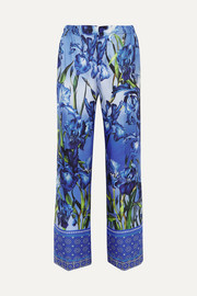 Etrere printed silk-twill straight-leg pants