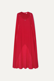 Givenchy Cape-effect beaded wool-crepe and silk-chiffon gown