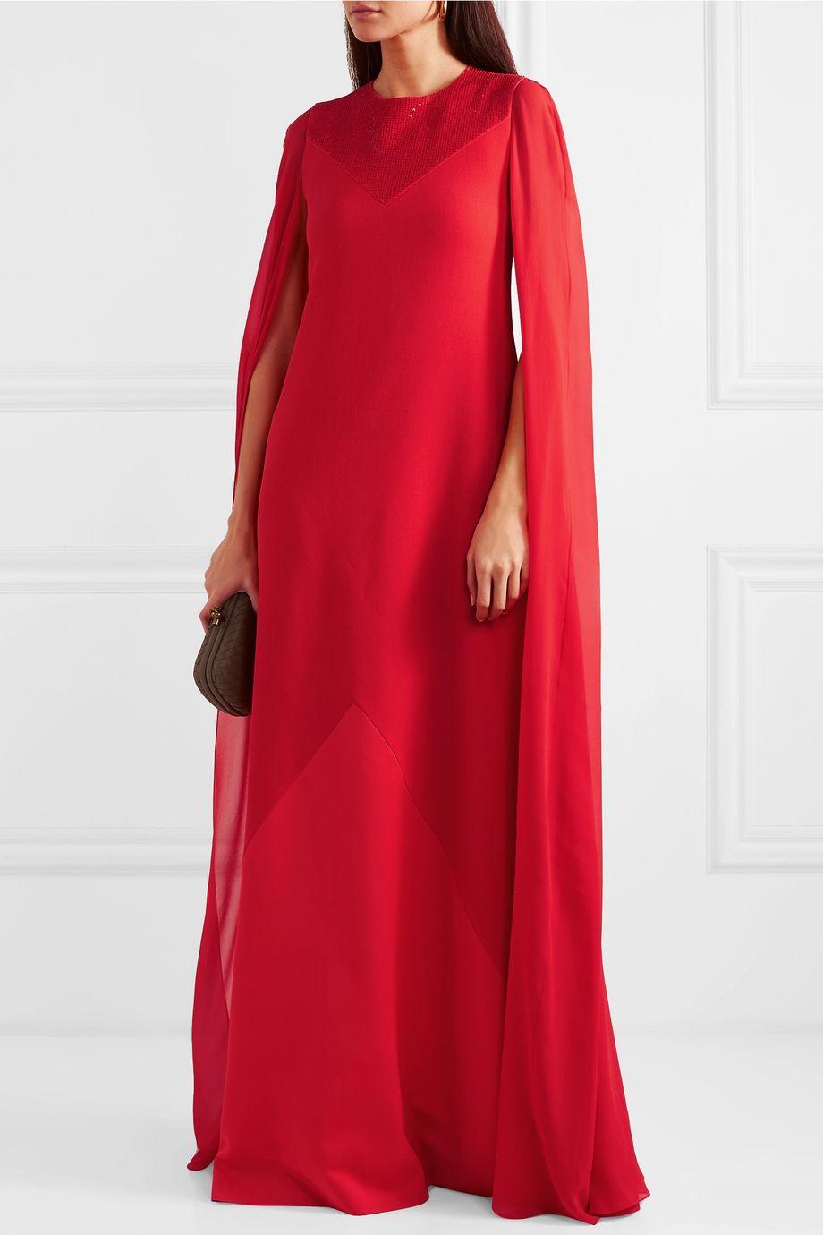 Givenchy Robe aus Woll-Crêpe und Seidenchiffon mit Cape-Effekt und Zierperlen