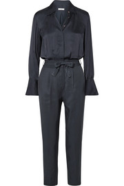 Andrea belted washed-satin and twill jumpsuit