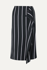 Equipment Climmie draped striped twill midi skirt