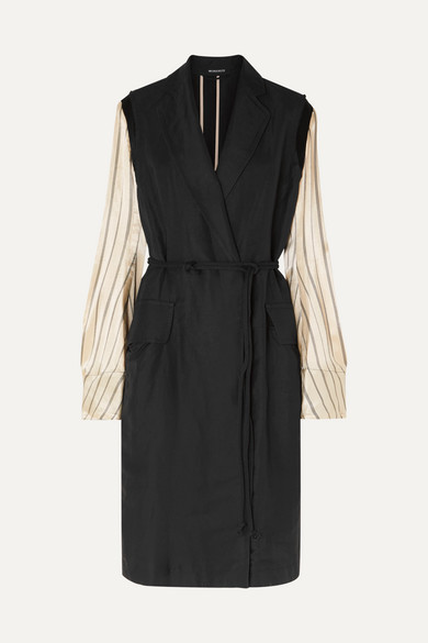 Ann Demeulemeester Coats Satin-paneled linen-blend twill coat