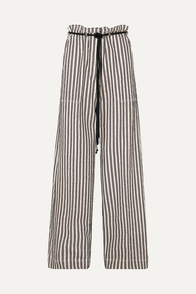 Ann Demeulemeester Belted Striped Cotton And Ramie-blend Wide-leg Pants In Ecru