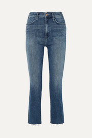 The Hustler cropped frayed high-rise flared jeans