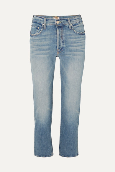 89ba58e06e Mother The Tomcat Cropped Distressed High-Rise Straight-Leg Jeans In Mid  Denim