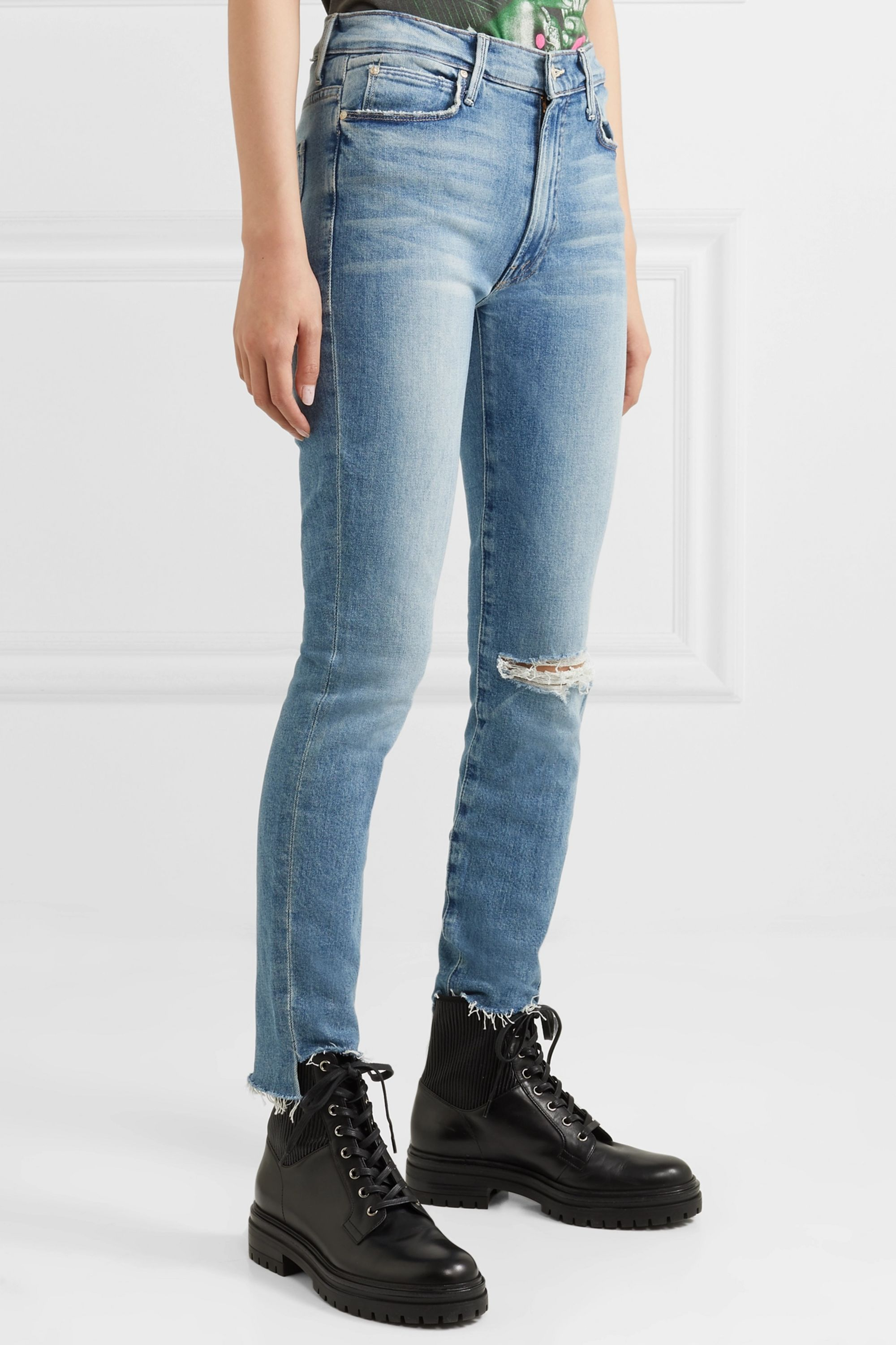 Mother Jean skinny taille haute stretch effet vieilli The Stunner