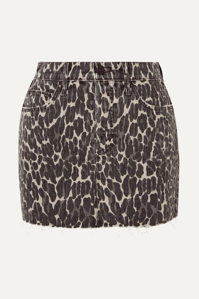 The Vagabond Distressed Leopard Print Denim Mini Skirt by Mother