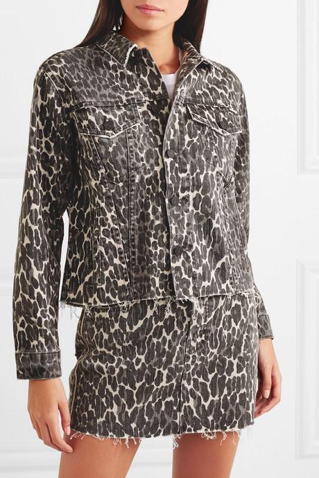 The Cut Drifter distressed leopard-print denim jacket