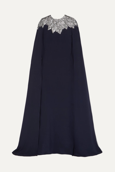 Cape-Effect Crystal-Embellished Silk Crepe De Chine Gown in Navy