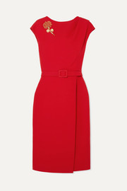 Belted embellished wool and silk-blend cady midi dress