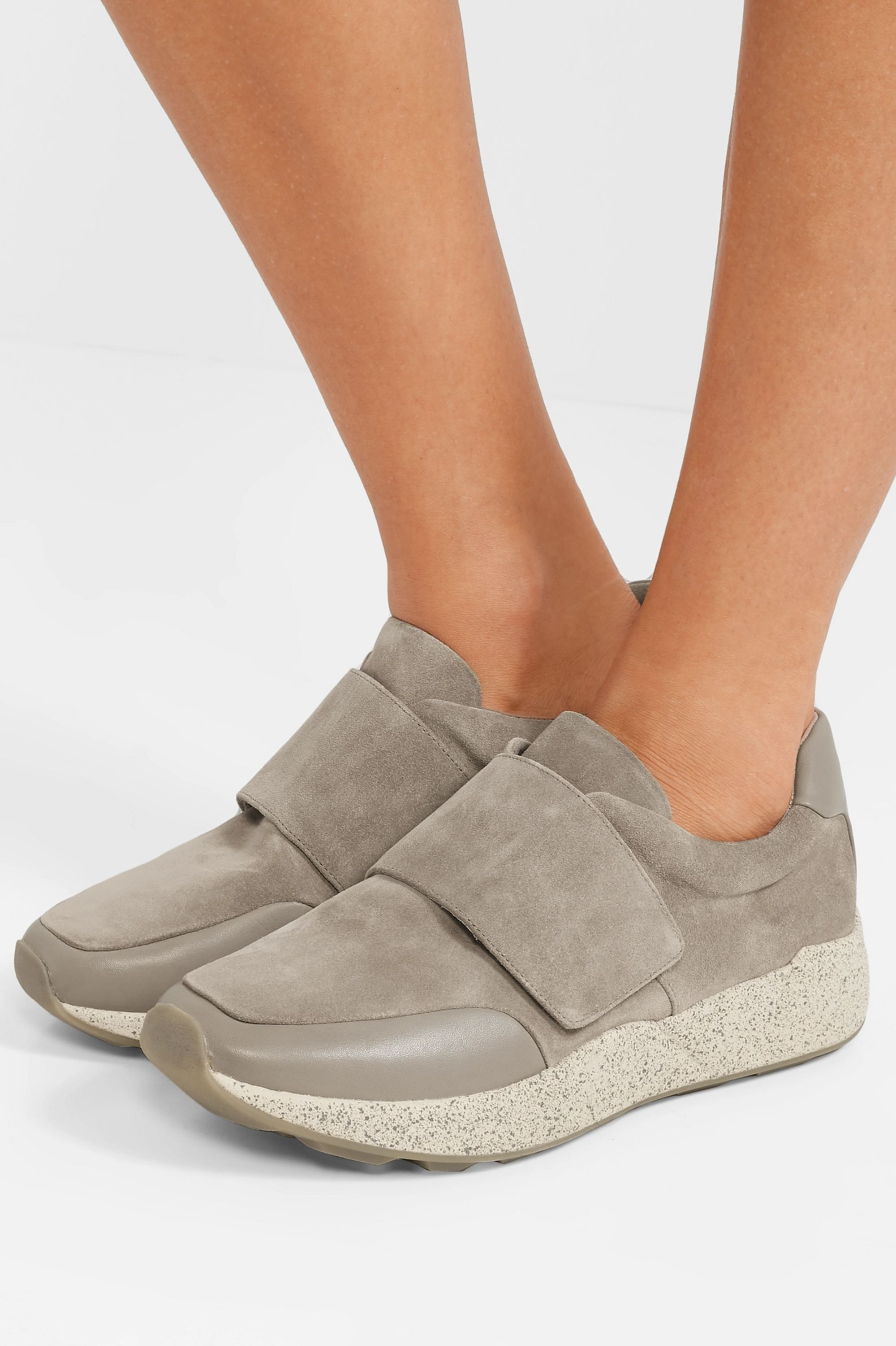 Gray Gage leather-trimmed suede