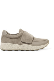 Gage leather-trimmed suede sneakers