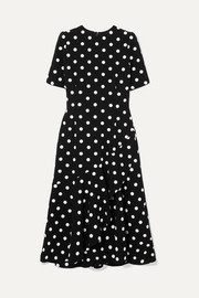 Polka-dot wool-blend crepe midi dress
