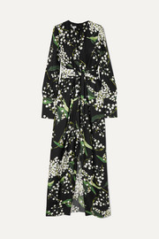Draped floral-print silk-twill maxi dress