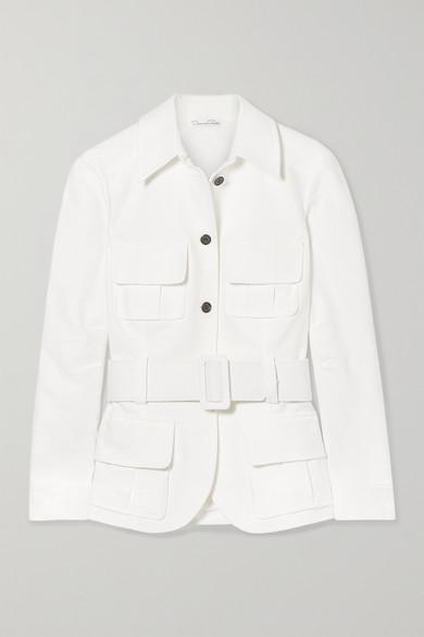 OSCAR DE LA RENTA | Oscar de la Renta - Belted Cotton-cloqué Jacket - White | Goxip