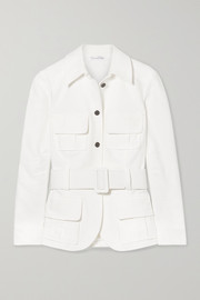 Belted cotton-cloqué jacket