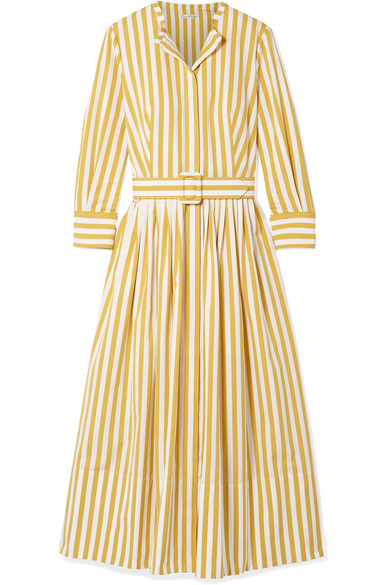 Oscar De La Renta STRIPED COTTON-POPLIN MIDI DRESS