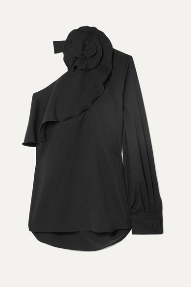 One-Shoulder Long-Sleeve Ruffle Stretch-Wool Top in Black