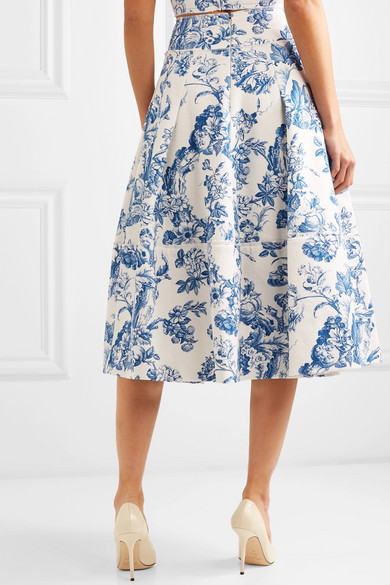 f3cb894ae7 Oscar de la Renta. Pleated floral-print cotton-blend midi skirt. $1,690  $1,01440% OFF. Reduced further. Play
